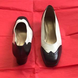 Vintage black and white spectator shoe